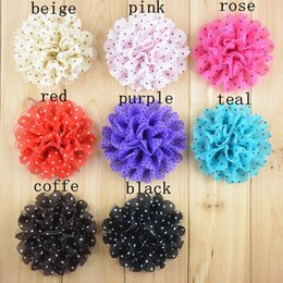 Wholesale Brooches Low Price - Mix colors 11CM low price wholesale 11cm sweet Polka Dot Chiffon FLOWER brooches accessories, large DIY felt flower scrapbooking