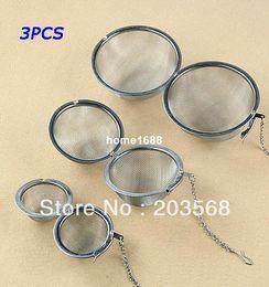 Wholesale Sphere Tea Filter - D19+3pcs lot Stainless Steel Sphere Locking Spice Tea Ball Strainer Mesh Infuser Filter Size 5CM 7CM 9CM