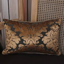 Wholesale Luxury Fabric Sofas - Wholesale-European Style Gold Luxury Embroidery Jacquard Chenille Fabric Sofa Cushion Cover Pillowcase No Core Home Hotel Decorative