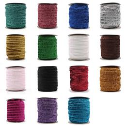 "Wholesale Velvet Elastic Headbands - Retail 15colors 1pc =50yards 3  8 ""Fashion Glitter Velvet Ribbon Ornaments Metallic Elastic Headbands For Kids Girls Hair Accessories"