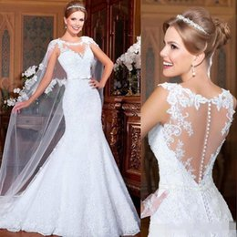 Wholesale Illusion Wedding Dress Fall - Vintage Mermaid Wedding Dresses With Cape Lace Bridal Party Gowns Long 2015 Fall Winter Cheap Sexy Sheer Dress Backless Vestidos de Noiva