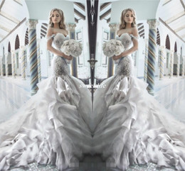 Wholesale Rhinestone Mermaid Trumpet Wedding Dress - Pnina Tornai 2016 Rhinestone Mermaid Wedding Dresses with Sweetheart Off Shouler Backless Crystal Tulle Luxury Chapel Train Bridal Gowns Hot
