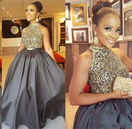 Wholesale long taffeta formal evening dress - Gray Long Prom Dresses 2018 High Neck Sequined Beaded A Line Taffeta African Black Girl Evening Party Formal Dress Vestidos De Fiesta