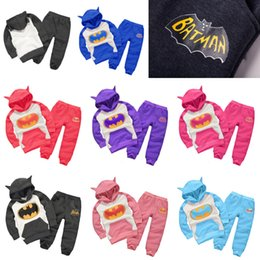 Wholesale Baby Winter Set Coat Trousers - baby Winter Boy kids girl tights toddler suit clothes harem pants leggings Outfits Sets Batman cartoon Hoodie Coat Trousers 64