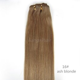 "Wholesale 6a Peruvian Hair - Indian Hair Extensions Brazilian Indian Malaysian Peruvian Human Hair Weave Straight Hair Weft Grade 6A 100g 1pcs 16""-26"" 16# Ash Blonde"