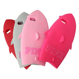 Wholesale Soft Silicone Shapes - 3D Cool Pink Cute Shark Shape Designed Soft Silicone Case Cover for iPhone 5 5S 6 Plus 6plus 4.7inch 5.5inch iPhone6