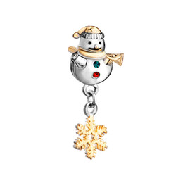 Schlittencharme online-2 toned überzogene Weihnachtsschneemann-Schneeflocke Dangle Spacers Metalldiamantperle European Spacer Charm passt Pandora Chamilia Biagi Charm Armband