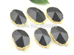 gold druzy connectors Promo Codes - 5pcs Nature Druzy Agate Connector Beads, Gold Plated Edge Agate Pendant in Black color, Drusy Gem Stone Connector Findings