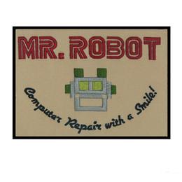 robot caliente Rebajas VENTA CALIENTE MR. ROBOT DE ALTA CALIDAD BORDADO HIERRO / COSTURA EN LA CHAQUETA SELLADA AL CALOR RESPALDO O PARCHE DE BOLSAS DE GORRA