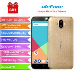 Wholesale Rear Front Camera - Wholesale Dual Rear Camera 3G Smartphone 5 Inch Android 7.0 Quad Core 1GB RAM 8GB ROM 2500mAh Ulefone S7
