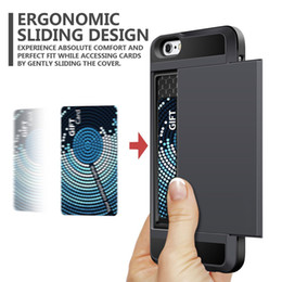 Wholesale Iphone Bumper Card - Multi-fonction Card Slot Wallet 2 in 1 Impact Resistant Armor Cases for iphone 7 plus Shockproof Rubber Bumper Cover for iphone 7 plus