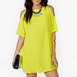 Wholesale Round Neck Short Sleeve Dress - Final Sale Clearance Women's Fashion Casual Round Neck Chiffon Dress Summer Cold Shoulder Above Knee Dresses Yellow Short Sleeve Dress