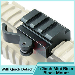 Wholesale rail riser - Airsoft 1 2 Inch Half Inch Mini Riser Block Mount For Picatinny Rails With Quick Detach QD Cam Lever Lock For Hunting RL1-0009
