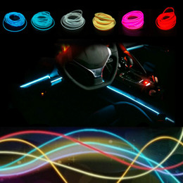 Wholesale Glow Tapes - Universal Hot Sale 1meter 10 Colors Flexible Neon Light Glow El Wire Rope Tape Cable Strip Led Lights Car Decorative Ribbon Lamps