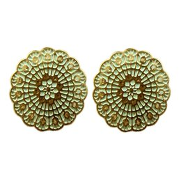 Wholesale Favorite Earrings - Perfeel Wholesale Delicate Round Gold Color Flower Charm Women Favorite Stud Earrings