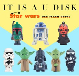 Wholesale Desktop 16gb - 32GB 16GB 8GB 4GB Star Wars cartoon Robot Darth Vader USB memory stick block mobile U disk Swivel mini USB Flash Drives