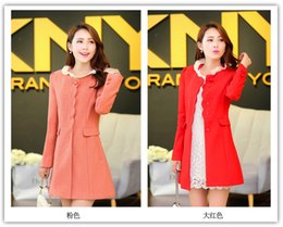 Wholesale Interlocking S - Wholesale-Free postage In the orange falbala collar hidden-interlocking long sweet cloth coat S-XXL Red trench Red trench coat coat