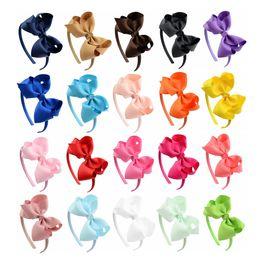 Wholesale Headbands Plastic Color - 20pcs  Lot Solid Grosgrain Ribbon Hairbands Princess Hair Accessories Plastic Hairband Girl Hairbands With Bows 675