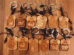 Wholesale Tiger Ring For Men - trendy wood key chain keychain rabbit pig tiger dragon car key ring christmas gift men&women key holder for the keys