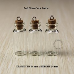 Wholesale Mini Cork Bottle Wholesale - 3ml Mini small glass bottles vials jars with corks decorative corked glass test tube bottle with cork for pendants mini 50pcs