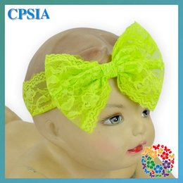 Wholesale Cheap Photo Props - (02)New Fancy Cheap Big Lace Bow Front Hair Band Kids Headband Lime Green Baby Girls Vintage Head Wrap Photo Prop Hair Accessories DHL free