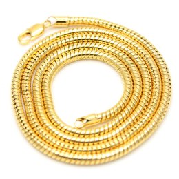 Wholesale Thick Asian Women - Solid 3MM Thick Link Yellow Gold Filled Round Snake Bone Chain Necklace Men Women Hip Hop Fashion Jewelry