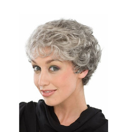 Wholesale Short Gray Wigs - new gray high-temperature wire wig fluffy short volume 8028