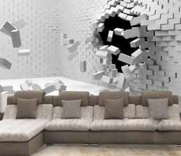 Wholesale Kids Brick Wallpaper - 2017 New Hot sale 3D art can be customized large-scale mural wallpaper bedroom living room TV backdrop modern fashion white brick wall paper