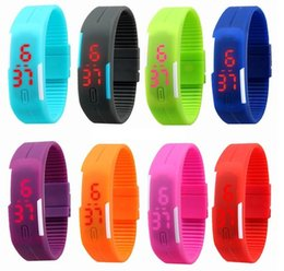 Wholesale Shanghai Watches - 2015 hot sale Sports rectangle led Digital Display touch screen watches Rubber belt silicone bracelets Wrist watches