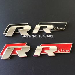 Wholesale Emblem Sticker Vw R Line - 100PCS METAL RLINE R LINE CAR REAR BACK TRUNK EMBLEM LOGO STICKER BADGE BLACK RED VW GOLF POLO CC PASSAT JEETA MK3 MK4 MK5 K6