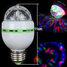 best led rgb full color - Promotion Magic Ball RGB Full Color 3W E27 LED Bulb Crystal Auto Rotating Stage Effect DJ Light Bulb Mini laser Stage Light Free shipping
