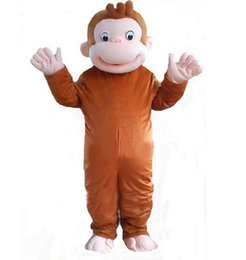 Wholesale Curious George Monkey Mascot Costume - Brand New high quality Curious George monkey Adult mascot costume fancy party dress Halloween costume summer hot sale