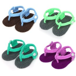 Wholesale Wholesale Baby Flip Flops - Handmade Baby Sandals Woolen Yarn Crochet Baby Flip-flops Newborn Soft Sole Baby Toddlers shoes Newborn Prewalker