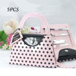 Wholesale Souvenir Purse - Wholesale- Pink Polka Dot Purse Nail Care Tool Manicure Set Birthday Party Favour Wedding Favors and Gifts For Guest Baby Shower Souvenirs