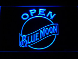 Wholesale Red Led Signs - 052 Blue Moon Bar Beer LED Neon Light Sign Wholeseller Dropship Free Shipping 7 colors to choose