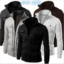 Wholesale Mens Fitted White Cardigan - New Autumn Mens Fashion Slim Fit Hoodies Zipper Stand Collar Sweatshirt Sportswear Male Casual Jacket Coat High Quality free shipping
