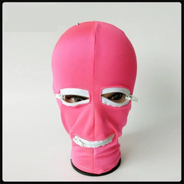 Wholesale Latex Sex Toys - 2017 Elastic Lycra Spandex Latex Coating Bondage Hood Headgear With Zipper Eyepatch Face Mask Dog Slave Adult BDSM Product Bed Games Sex Toy