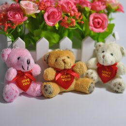 Wholesale Love Teddy Bear Doll - 5.5cm Cartoon Lovely Mini Scarf Teddy Bear I Love You Plush Pendants Toys Dolls Keychain Bouquet Phone Bag 20pcs Lot