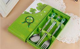 Wholesale Kids Chopsticks - Kids Cartoon Stainless Steel Dinnerware Set Spoon + Fork + Chopsticks Portable Children baby Tableware for wedding gift