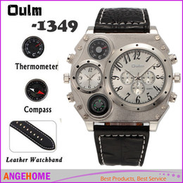 Wholesale Oversized Belt Buckles - Oulm 1349 Dual Quartz Movements Wrist Watch Personalized Oversized Case with Compass & Thermometer decoration men Luxury watch