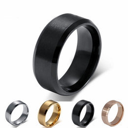 Wholesale 18k Gold Plated Ring Mens - Free Engraving 8MM Mens Womens Titanium Stainless Steel Ring Band with Flat Brushed Top Polished Beveled Edge US Size 5-14