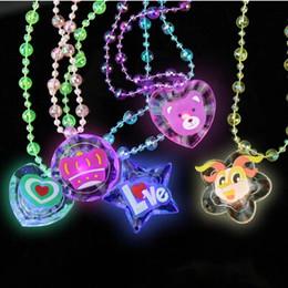 Wholesale 3d Free Bead Toys - Free Ship 30pcs 38cm 3D Cartoon Fashion LED Flashing Glow Crystal Necklace Beads LED Glow Pendant Party Disco Wedding Gift Toy