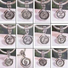 Wholesale Dangle Charm Alphabet - Hot ! 100pcs Antique Silver Mixed Alphabet Dangle Bead Fit European Style Charm Bracelets 27 x 19 mm