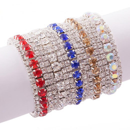 Wholesale Crystal Rhinestone Trims - MIC New 10 Colors Fashion Women 3-Row Rhinestone Crystal Trims Spring Bracelets Tennis 6inches Fashion Jewelry