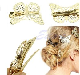 Wholesale Animal Barrettes - 2016 Hot Women Shiny Golden Butterfly Hair Clip Headband Hairpin Accessory Headpiece
