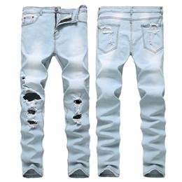 Wholesale Jeans Boys Feet - Europe and the United States high street boys knee hole feet pants Kanye West elastic skinny jeans pale blue tide