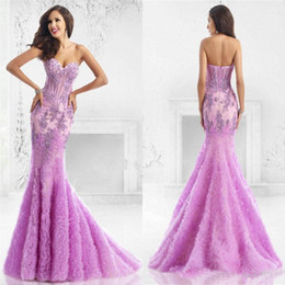 Wholesale Sweetheart Ruffle Long Prom Dress - JANIQUE Backless Mermaid Evening Dresses 2016 Lavender Beaded Sweetheart Neckline Long Evening Gowns Applique Formal Prom Party Dress