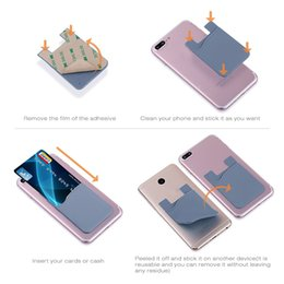 Wholesale Slim Smartphones - 2017 Ultra-slim Self Adhesive Credit Card Wallet Card Set Card Holder Colorful Silicon For Smartphones For iPhone X 8 7 6S Sumsung S8
