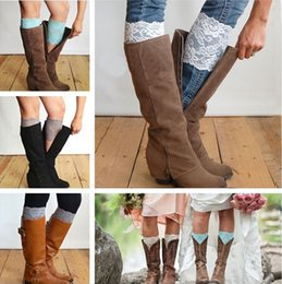 Wholesale Yellow Boots For Girls - Fashion Women Leg Warmers Hollow Out Flower Design Elastic Lace Toppers Knee Pad Girls Boot Cuffs for all seasons