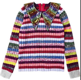 Wholesale European Runway - 2018 High End Colorful Striped Sequins Pullover Women Brand Same Style Beads Crystals Knitting Women's Sweaters Runway Style Sweaters 110131